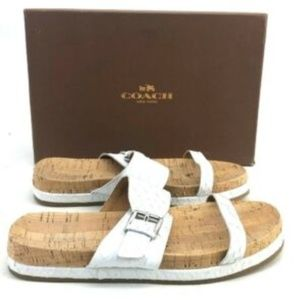 Coach White Strappy Sandals Sunny Cut Snake White